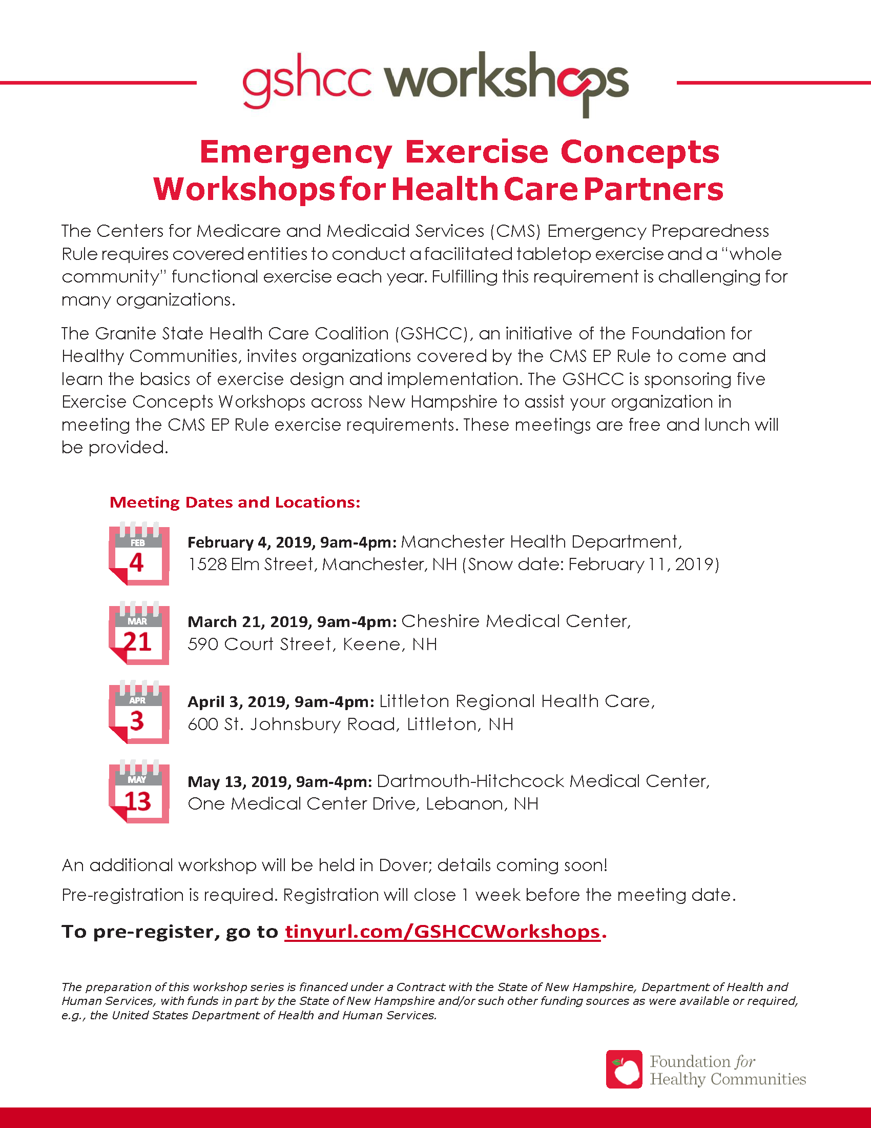 GSHCC Exercise Concepts Workshops